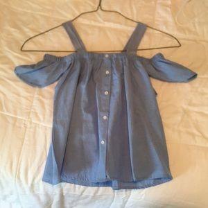 Love Notes Tops - Blue off the shoulder blouse